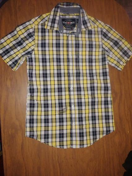 Camisa Ecko Cuadros Amarilla Small Talla Chica Para Hombre
