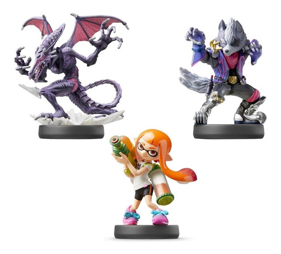 Amiibo Inkling Girl Ridley Wolf Ultimate Smash Bros Switch