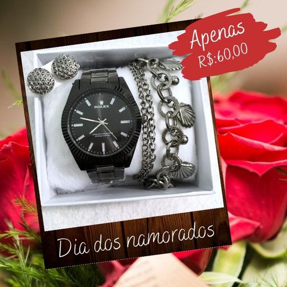 Relógio Feminino + Kit Pulseira E Brinco