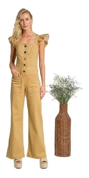 Macacão Pantalona Em Sarja Com Toque Acamurçado