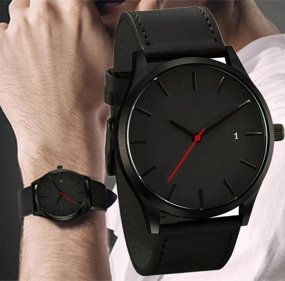 Relógio Masculino Esportivo Couro Preto C/data