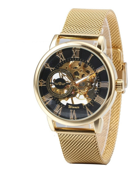 Relógio Mecânico Skeleton Ultra Thin Luxo Golden 468x Winner