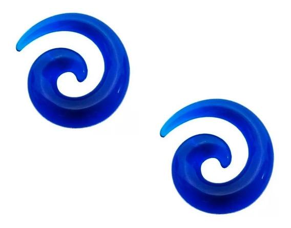 Par Alargador Caracol Espiral Azul Acrílico