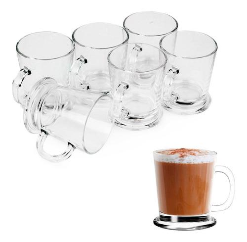 Imagen 1 de 10 de Set X6 Jarritos Mug Arabica Con Manija 180ml Vidrio Café Té