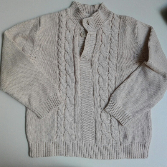 Sweater Niño Varón Nene Infantil Hilo Beige Botón Importado