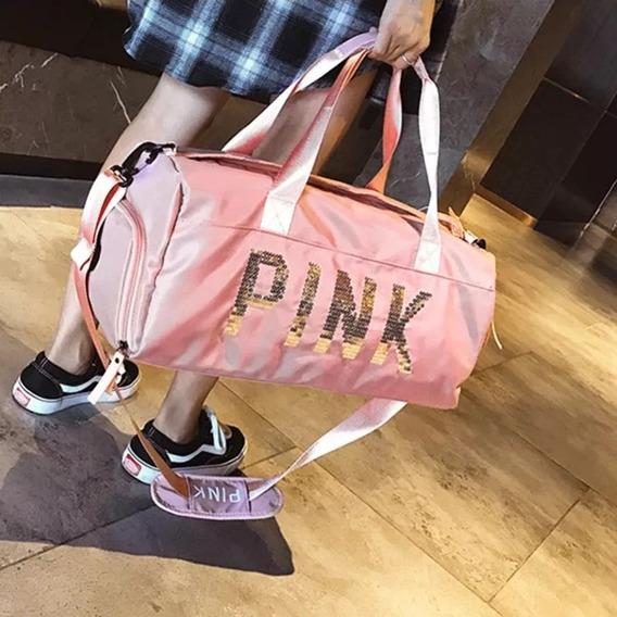 Bolsa Importada Luxo Pink Moda Love Academia Treino Fitness