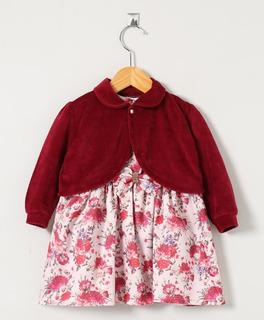 Vestido Infantil Pingo Doce Floral Marsala Com Casaco