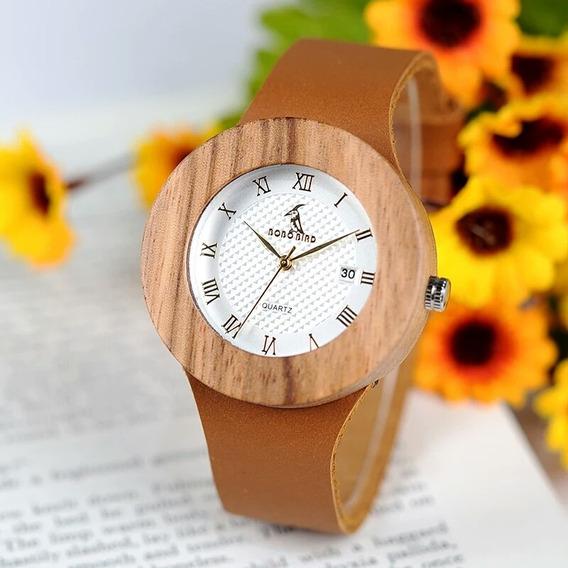 Relógio Feminino Bobobrid Madeira Pulseira De Couro Promoção