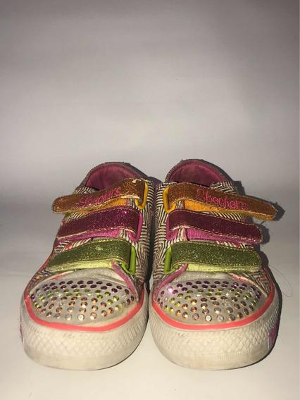 Zapatillas Niña Skechers Nenas Multicolor Con Luces