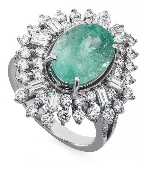 Anel De Ouro Branco 18k Turmalina Paraíba Com Diamantes An34