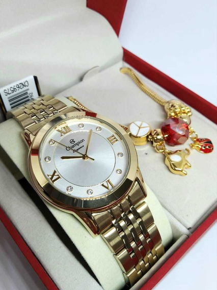 Relógio Feminino Dourado Champion Cn26957s + Pulseira