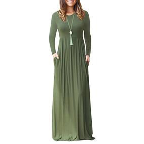 3dbcb46811 Mulheres Casual Vestido Longo S lidos Mangas Compridas