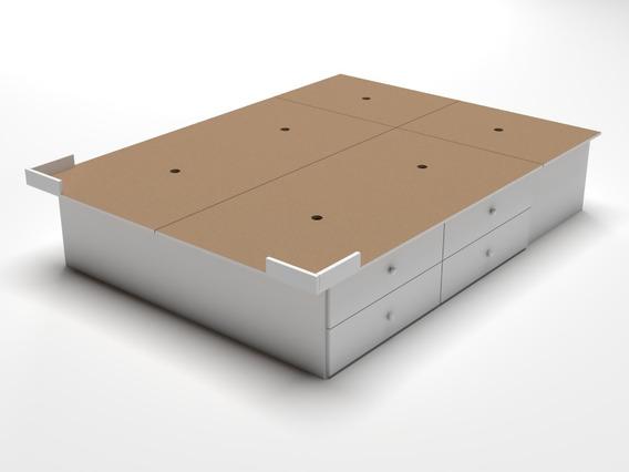 Base Sommier Box 200 X 160 Size 8 Cajones Y 4 Bauleras Queen
