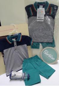 Conjunto Paraiso Bebe Menino Camisa Polo + Bermuda Ref 7493