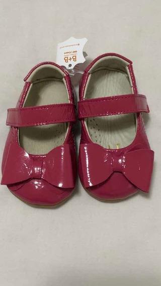 Sapatilha Boneca Laço Couro Pink Verniz B+b