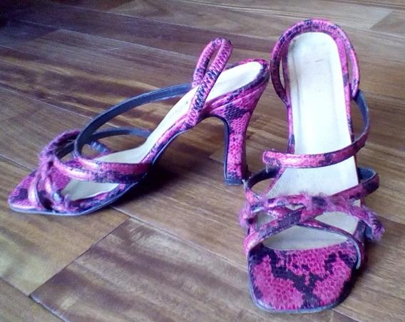 Sandalias 37 Fucsia Cuero Tipo Piel Zapato Caba Centro
