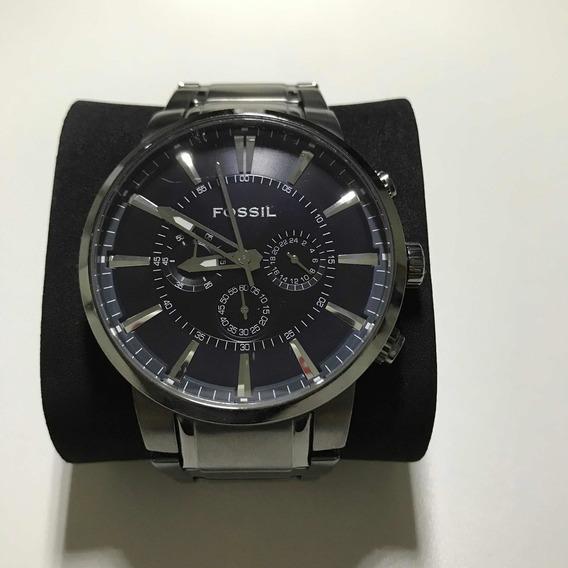 Relógio Fóssil Masculino Prateado Usado Original Impecável