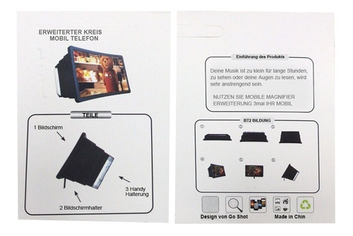 Garsent Amplificador de Pantalla de tel/éfono m/óvil Lente de acr/ílico HD port/átil Plegable 3D Proyector de Lupa de tel/éfono Inteligente HD 3D Ampliador de Video de pel/ícula con pr/áctico Soporte