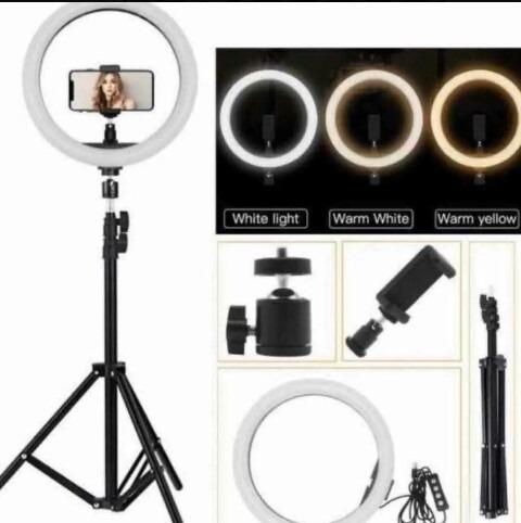 Imagen 1 de 2 de Lampara Aro Luz  26cm + Trípode 2.10m Fotografia Profesional