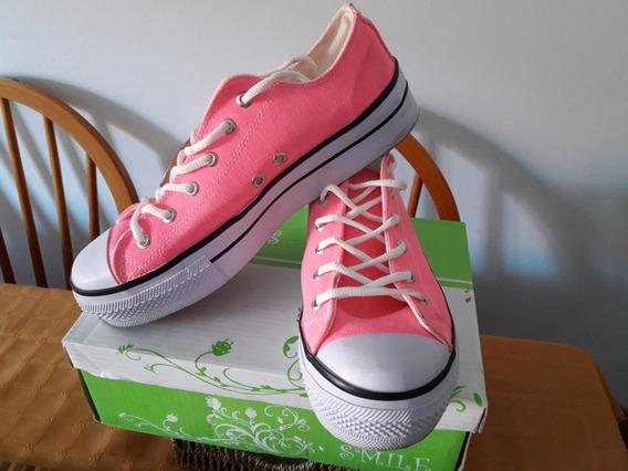 Zapatillas Plataforma Lona Dama Star Rosa Fluor 40
