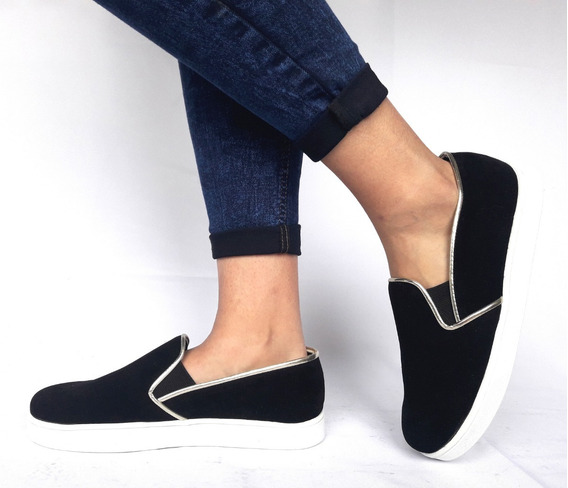 Panchas Mujer Sam123 Oferta Talles Grandes Eco Negras