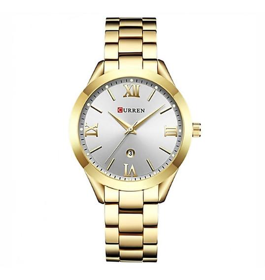 Relógio Feminino Curren 9007 Original Quartz Aço Dourado
