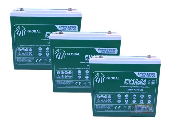 Kit Bateria Gel 3un 24ah 12v Bike Elétrica 6-dzm-20 Global