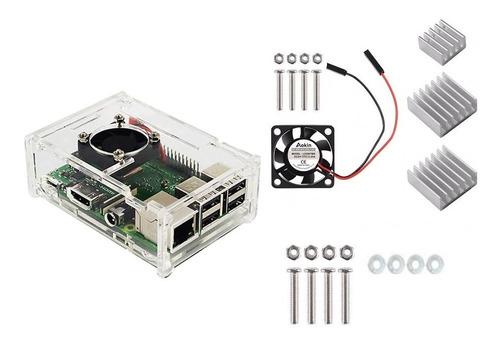 Imagem 1 de 9 de Case Acrilico Para Raspberry Pi3(b)+ Cooler+dissipadores.