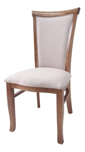 Cadeira De Jantar Monaco Estofada Madeira Maciça
