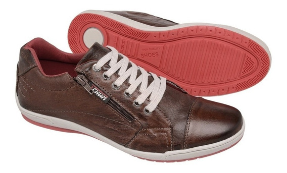 Sapatenis Dockside Sapato Casual Couro Tchwm Shoes Com Zipe