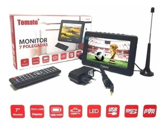 Mini Tv 7 Pol. C/ Controle, Rádio Fm Lê Cartão E Pen Drive