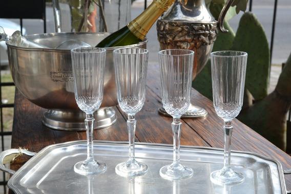 Set X 4 Copas Para Champagne De Vidrio Tallada 20x5.5 Cms