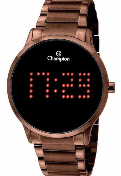 Relógio Champion Digital Chocolate Led Vermelho Ch40035r