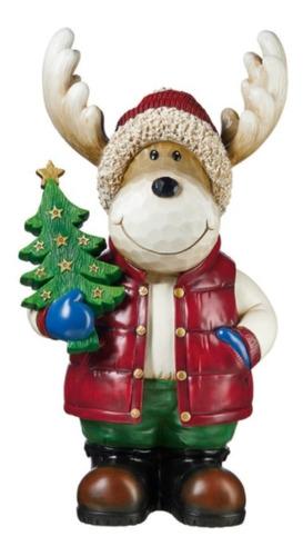 Alce Con Arbol Navideño 67 Cm Reno Santa Claus Navidad