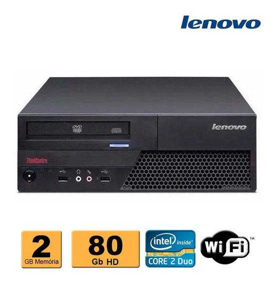 Pc Cpu Mini Desktop Lenovo C2d E8400 2gb Ddr3 80gb Wifi