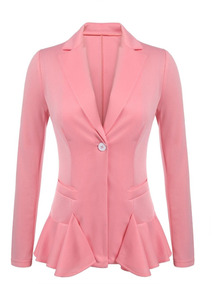 Mujeres Notch Lapel Solid One Button Slim Fit Ruffles Casual
