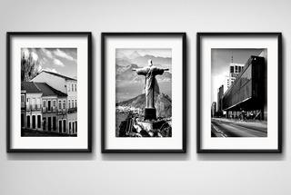 3 Quadros Cidades Brasil Preto Branco Decoracao Paspatur