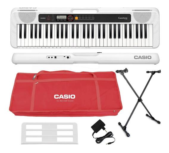 Kit Teclado Casio Tone Ct-s200 Musical 61 Teclas Usb Vermelh