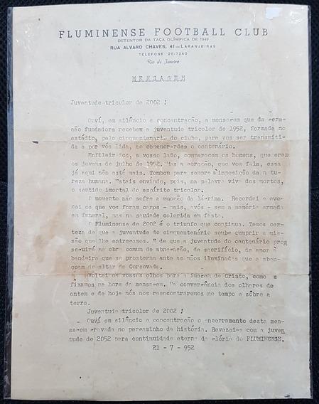 Documento Carta/mensagem Fluminense 1952 Juventude Tricolor