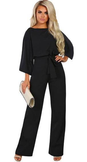 Palazzo Para Dama Jumpsuit Color Negro Cinto Moda Pantalón