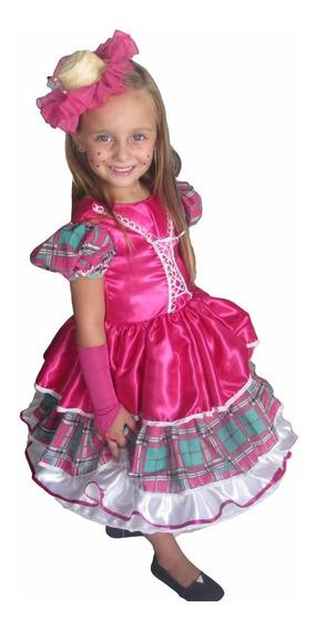 Vestido De Festa Junina Caipira Infantil Pink + Luva+laço
