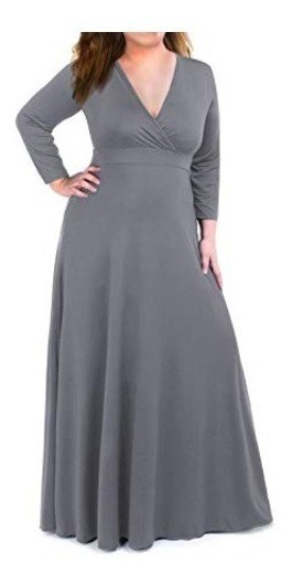 Vestido Extra Grande Para Mujer Cuello V Moonlisa Gris G5643