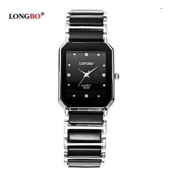 Relógio Feminino Longbo Prata Black Silver Quadrado
