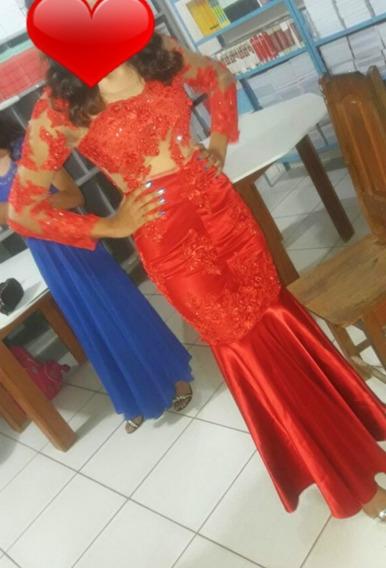 Vestido De Gala Estilo Sereia Vermelho Na Pedraria Brilhoso