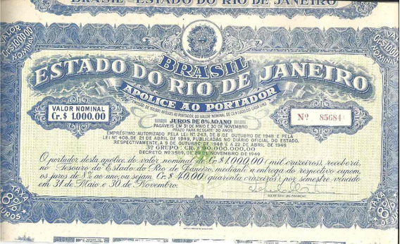 Apólice Ao Portador Estado Do Rio De Janeiro 85684