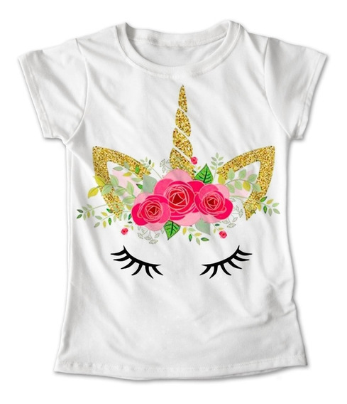 Blusa Unicornio Colores Playera Estampado Flores #001