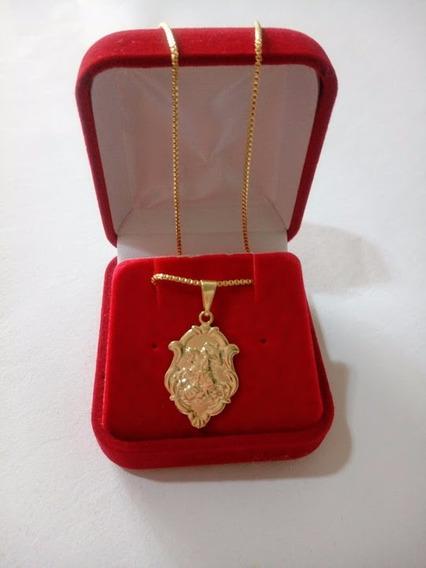 Medalha De São Jorge Com Corrente Masculina Banhada A Ouro