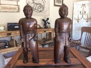 Hermosas Esculturas Soldados Antiguas Tallado Madera Cedro