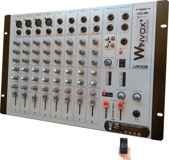 Mesa De Som Bluetooth 8 Canais Uwx 08 Usb Efeito Fm