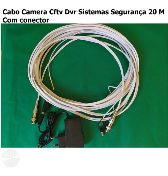 Kit Coa.bipolar 4mm Cftv Dvr Sistemas Segurança 20m + Fonte